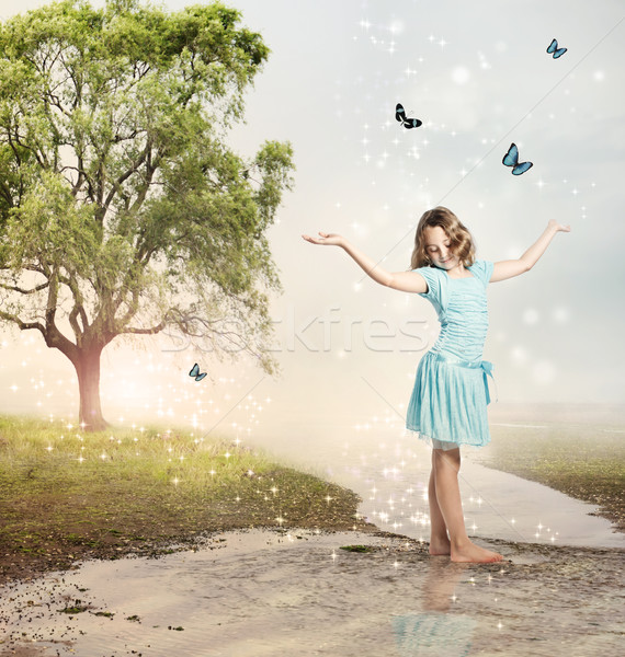 Girl with Blue Butterflies at a Magical Brook Stock photo © Melpomene