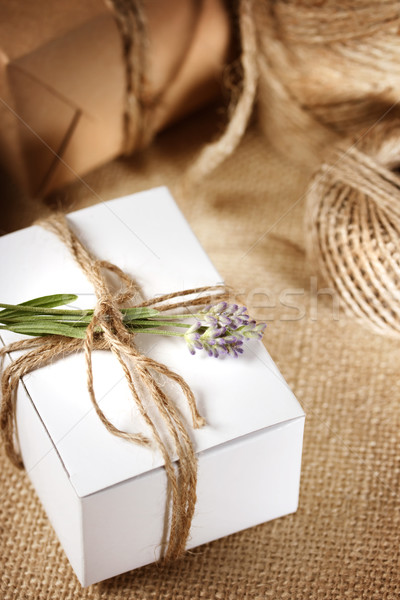 Handmade gift box with lavender sprig  Stock photo © Melpomene