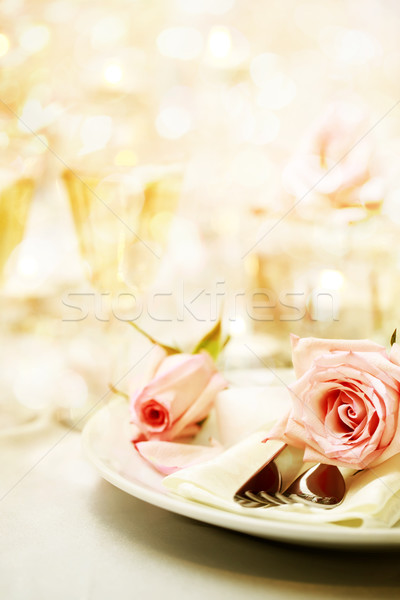 Dinner table with beautiful pink roses Stock photo © Melpomene