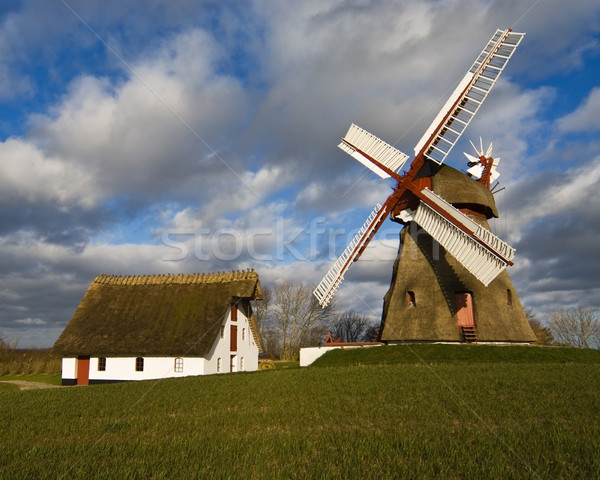 Vieux vent moulin Danemark ciel herbe Photo stock © MichaelVorobiev