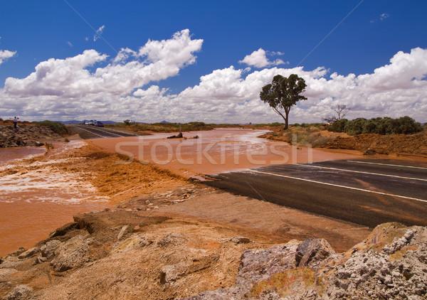 Dél-Ausztrália autópálya út nehéz eső víz Stock fotó © MichaelVorobiev