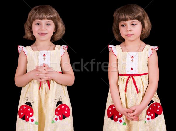Little girl retrato isolado preto cabelo juventude Foto stock © MichaelVorobiev