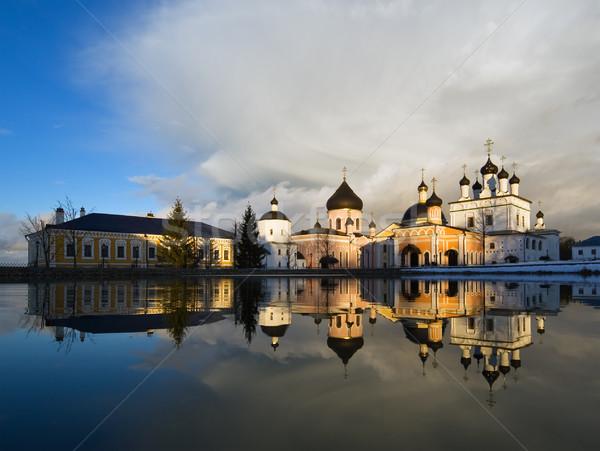 Russo mosteiro Moscou região primavera pôr do sol Foto stock © MichaelVorobiev