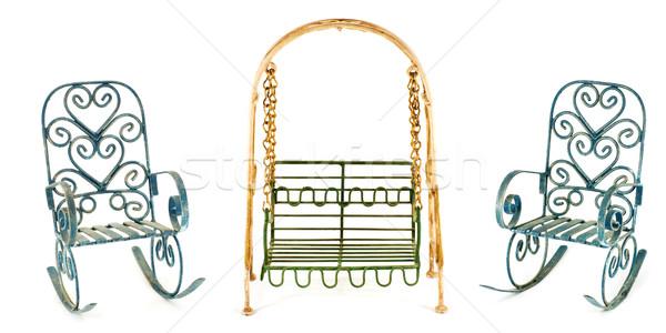 Balançar dois cadeiras metal isolado branco Foto stock © MichaelVorobiev