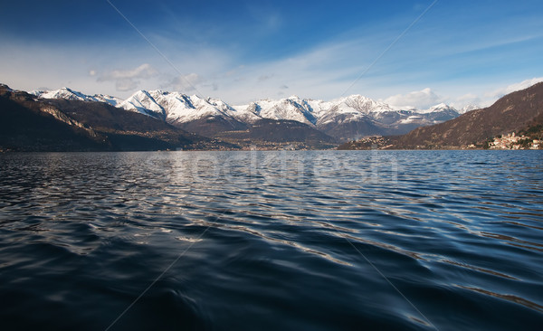 Photo stock: Lac · panoramique · vue · montagnes · Italie · ciel