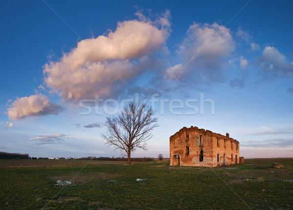 фермы дома Италия Панорама закат облаке Сток-фото © MichaelVorobiev