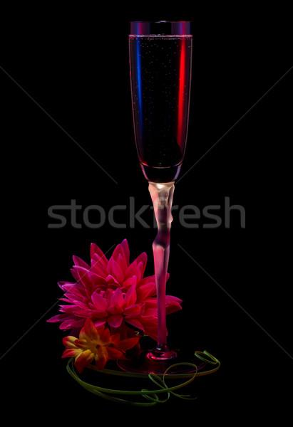 стекла вино цветы изолированный черный Сток-фото © MichaelVorobiev