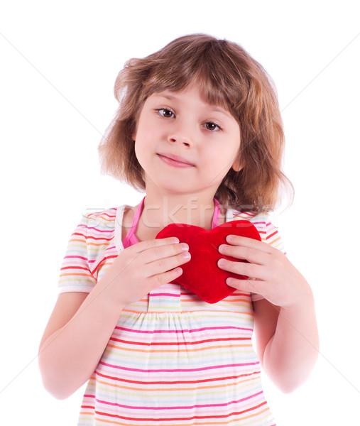 Little girl coração bastante isolado branco menina Foto stock © MichaelVorobiev