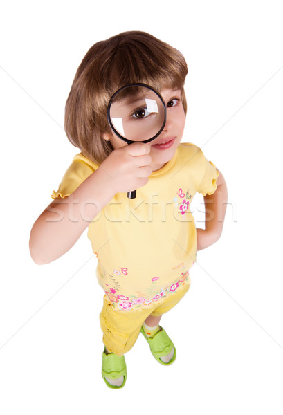 Foto stock: Little · girl · lupa · bastante · olhando · cara · vidro