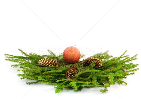 árbol de navidad dorado espacio verde color Foto stock © MichaelVorobiev