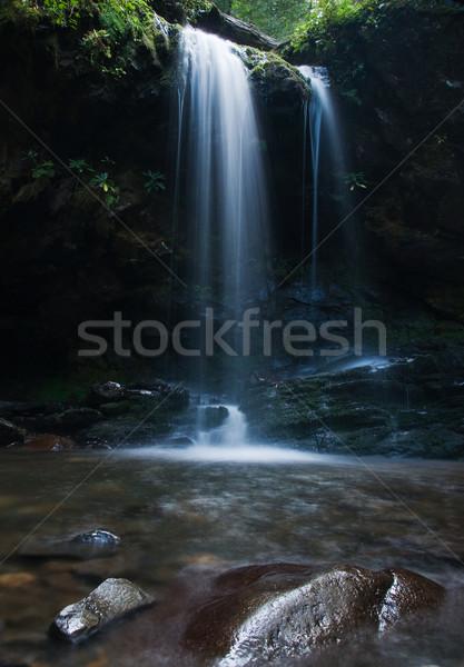 Cachoeira enfumaçado montanhas água árvore Foto stock © MichaelVorobiev