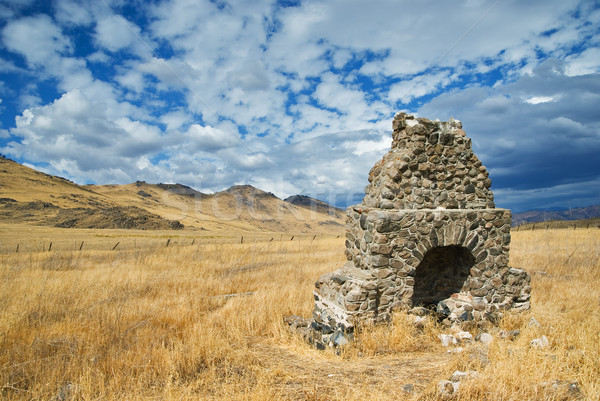 Piedra estufa granja campo canón ladrillo Foto stock © MichaelVorobiev