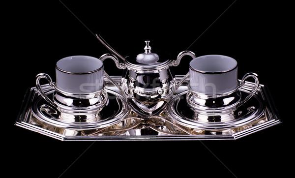 Café conjunto prata isolado preto cozinha Foto stock © MichaelVorobiev