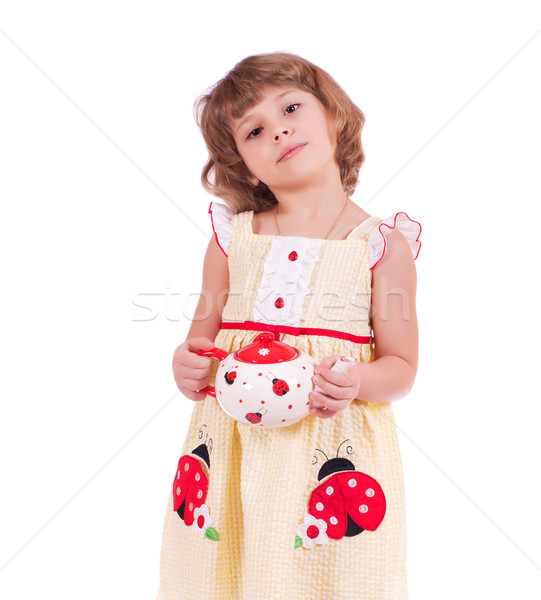 Meisje theepot mooie geïsoleerd witte meisje Stockfoto © MichaelVorobiev