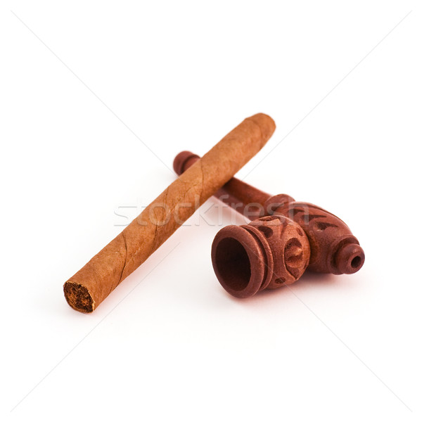 Small tobacco pipe and cigar Stock photo © MichaelVorobiev