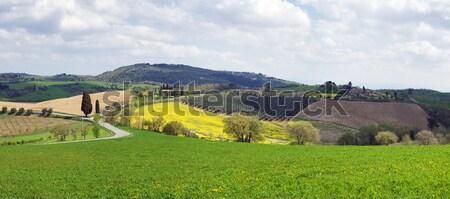 Italien paysage Toscane panoramique vue ciel Photo stock © MichaelVorobiev