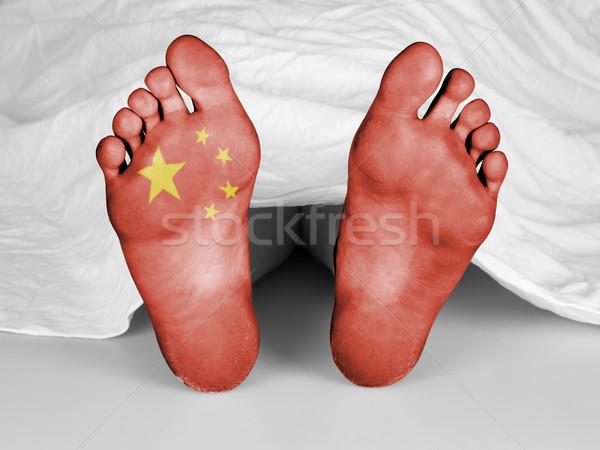 Foto stock: Branco · folha · bandeira · China · mulher