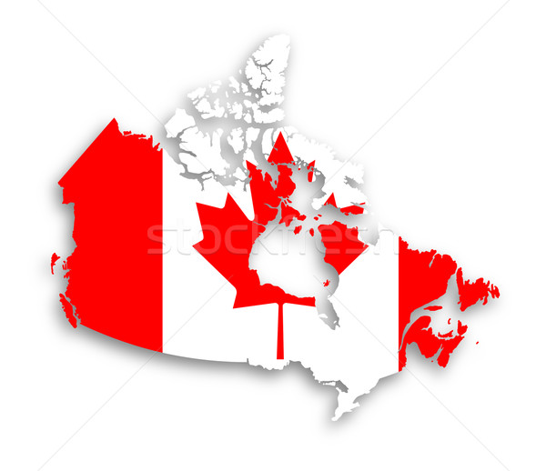 Stock photo: Canada map with the flag inside