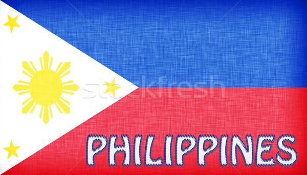 Vászon zászló Fülöp-szigetek levelek textúra terv Stock fotó © michaklootwijk