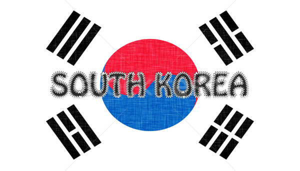 Flag of South Korea stitched with letters Stock photo © michaklootwijk