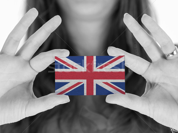 Vrouw tonen visitekaartje zwart wit Verenigd Koninkrijk ruimte Stockfoto © michaklootwijk