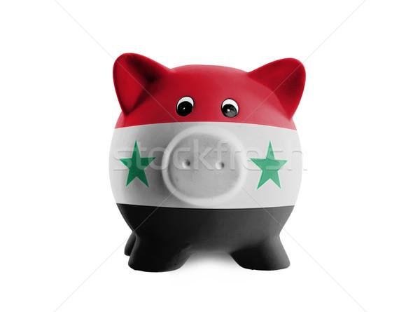 Foto stock: Cerâmico · piggy · bank · pintura · bandeira · Síria · dinheiro
