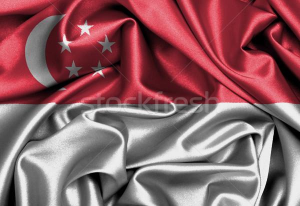 Saten bayrak üç boyutlu vermek Singapur doku Stok fotoğraf © michaklootwijk