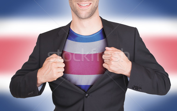 Zakenman opening pak shirt vlag Costa Rica Stockfoto © michaklootwijk