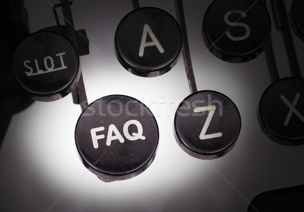 Máquina de escrever especial botões faq teclado chave Foto stock © michaklootwijk