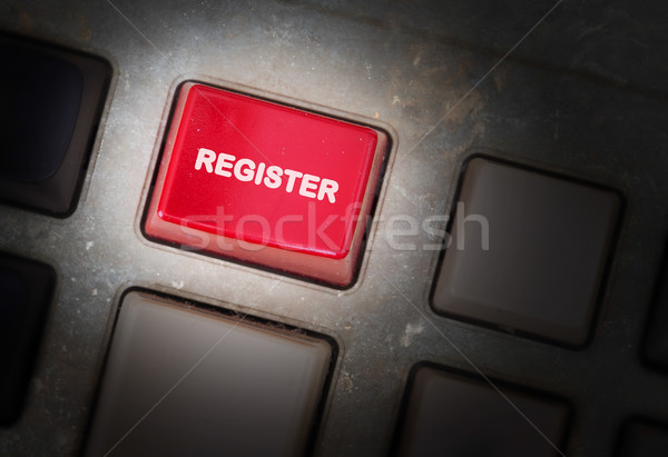 Stock photo: Red button on a dirty old panel