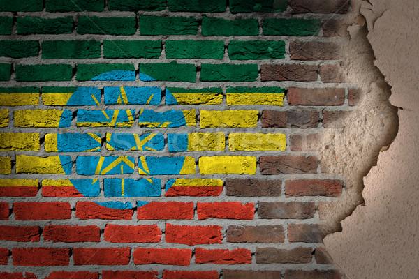 Ciemne murem gipsu Etiopia tekstury banderą Zdjęcia stock © michaklootwijk