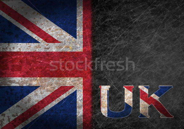 Old rusty metal sign with a flag and country abbreviation Stock photo © michaklootwijk