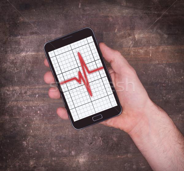 Elektrocardiogram smartphone gezondheidszorg hartslag monitor medische Stockfoto © michaklootwijk