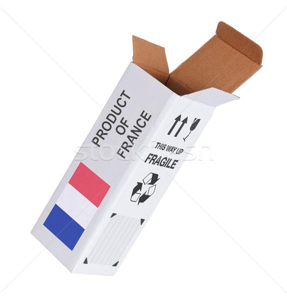 Exportar produto França papel caixa Foto stock © michaklootwijk