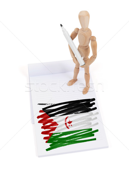 Foto stock: Maniquí · dibujo · occidental · sáhara · bandera