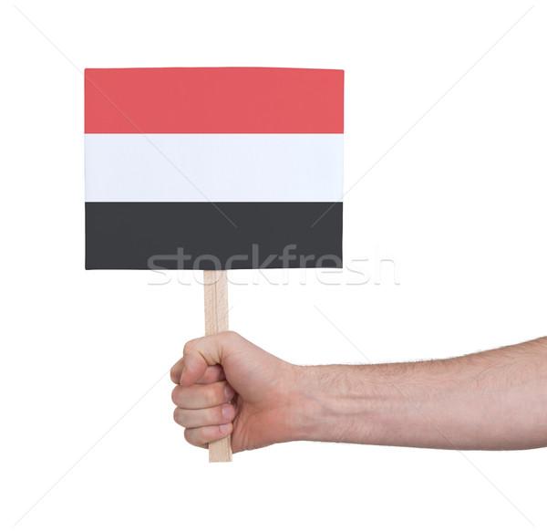 Mão pequeno cartão bandeira Iémen Foto stock © michaklootwijk
