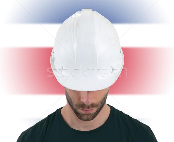 Inżynier banderą Kostaryka odizolowany budowy technologii Zdjęcia stock © michaklootwijk