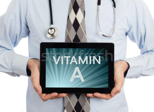 Stock fotó: Orvos · tart · tabletta · vitamin · izolált · fehér