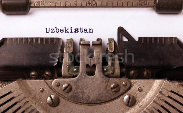 öreg írógép Üzbegisztán felirat klasszikus vidék Stock fotó © michaklootwijk
