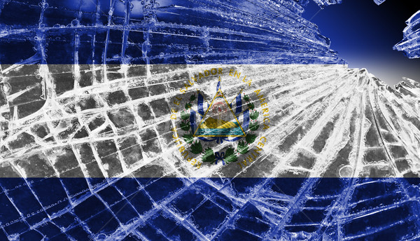 Broken glass or ice with a flag, El Salvador Stock photo © michaklootwijk