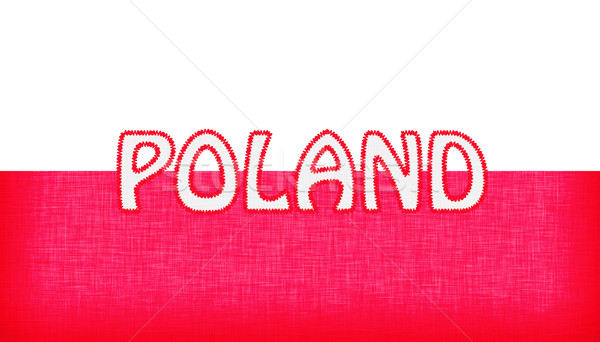 Flag of Poland stitched with letters Stock photo © michaklootwijk