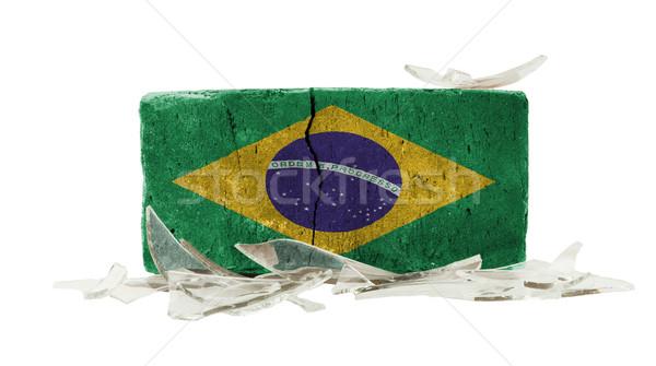 Brique verre brisé violence pavillon Brésil mur Photo stock © michaklootwijk
