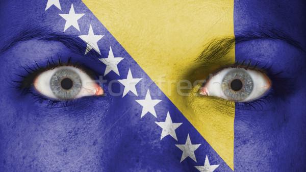 Ojos bandera pintado cara Bosnia Herzegovina Foto stock © michaklootwijk