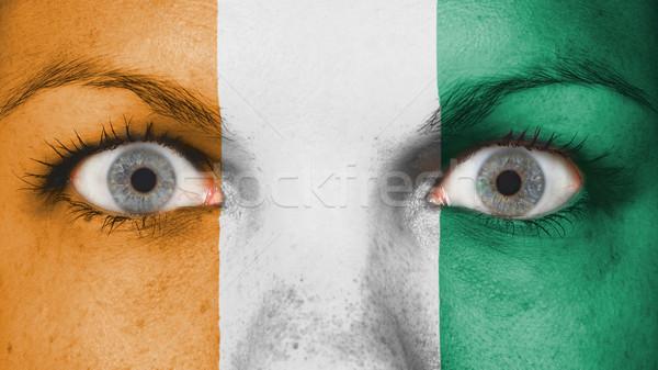 Közelkép szemek zászló festett arc Elefántcsontpart Stock fotó © michaklootwijk