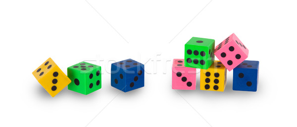 Eight colorfull pensil erasers in the shape of dice Stock photo © michaklootwijk