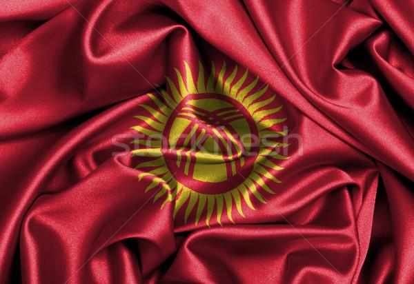 Szatén zászló háromdimenziós render Kirgizisztán textúra Stock fotó © michaklootwijk