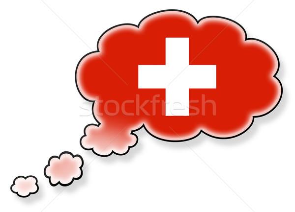 Bayrak bulut yalıtılmış beyaz İsviçre sanat Stok fotoğraf © michaklootwijk