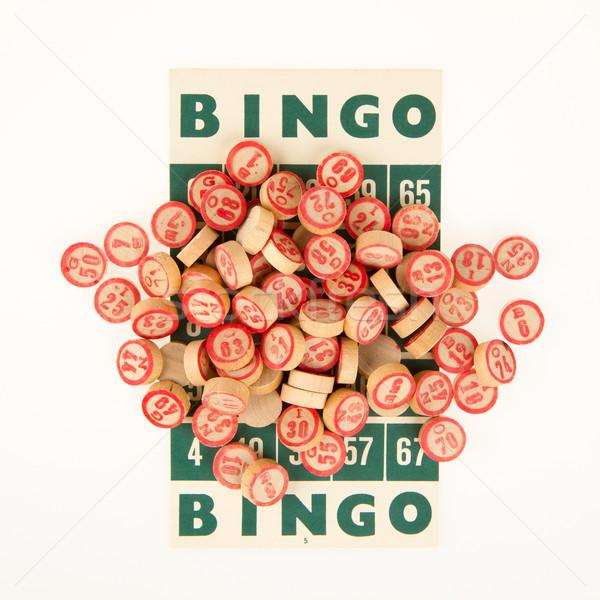 Houten nummers gebruikt bingo top kaart Stockfoto © michaklootwijk