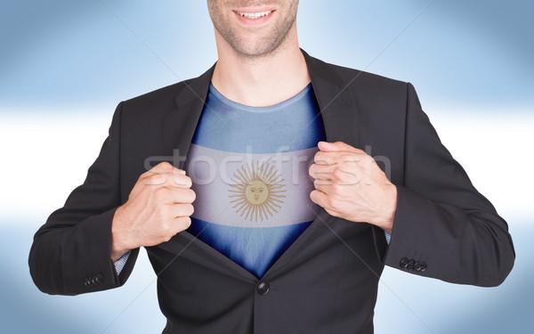 üzletember nyitás öltöny póló zászló Argentína Stock fotó © michaklootwijk