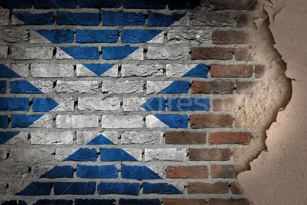 暗い レンガの壁 石膏 スコットランド テクスチャ フラグ ストックフォト © michaklootwijk